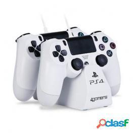 4Gamers Base de carga doble para mandos + Cable Blanco PS4