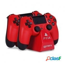 4Gamers Base de carga doble para mandos + Cable Rojo PS4