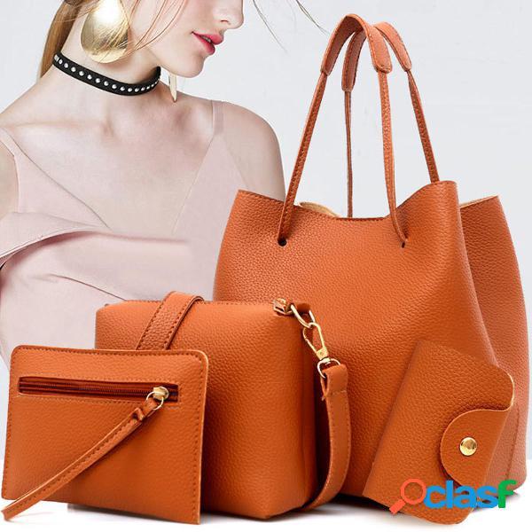 4PCS Mujer Bolso de cuero Hombro Cubo Bolsa Messenger