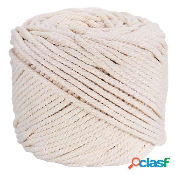 4mmx100m Cordón trenzado de algodón beige natural Cuerda