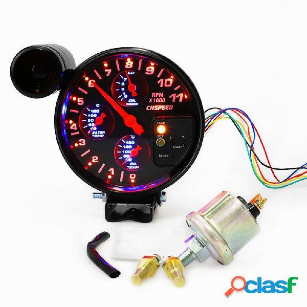5 Inch 4 en 1 Tacómetro RPM Medidor Cambio Presión ligera