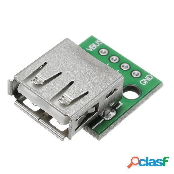 5uds Enchufe de Cabeza Hembra USB 2.0 A DIP 2.54mm Pin 4P