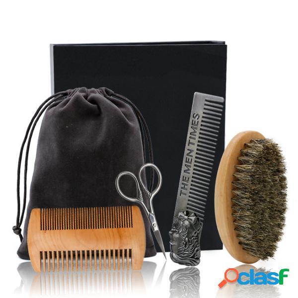 6 Unids / set Kit de Aseo y Recorte de Barba Cepillo Peine
