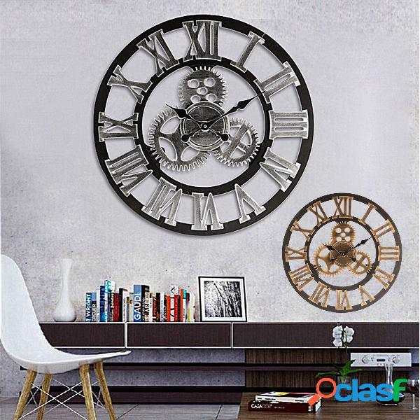 60cm 3D Retro Industrial Large Gear Wall Reloj Arte de lujo