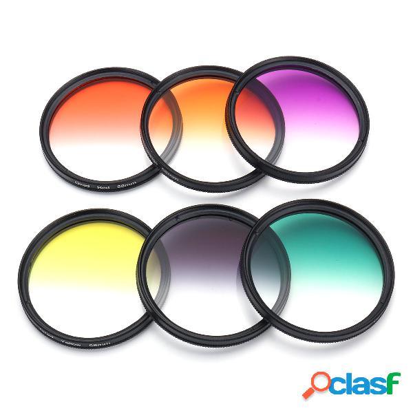 6Pcs / Set 58mm Kit de filtro de color graduado Cámara