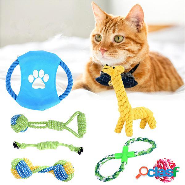 7Pcs Pet Perro Cuerda Chew Toy Set Tough Knot Ball Cotton