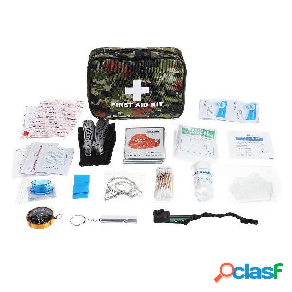82Pcs IN 1 al aire libre SOS Emergency Survival Kit Bolsa