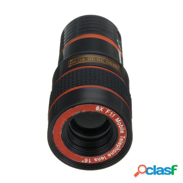 8X Zoom Telefono telefonico negro Telephoto Lente con Clip
