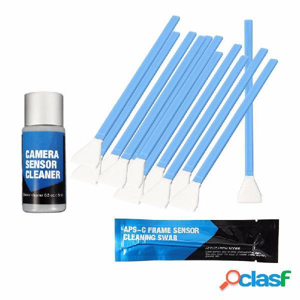 APS-C DSLR Sensor Kit de limpieza 12pcs hisopo con solución