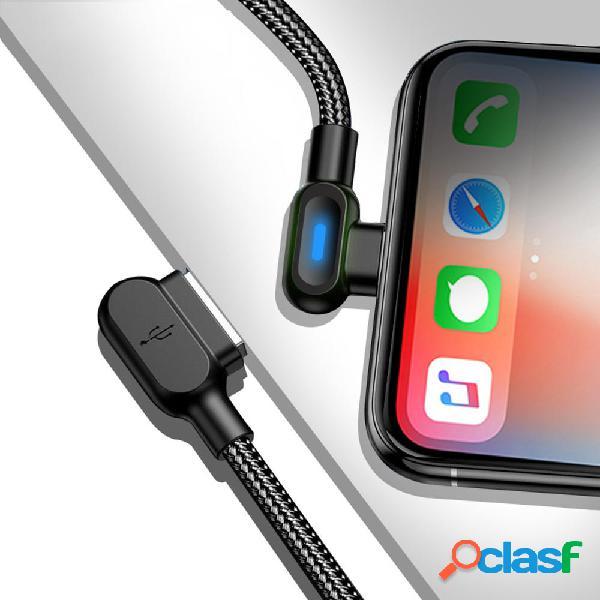 Bakeey 2.4A Type C Micro USB Cable de datos de doble codo de