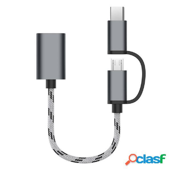 Bakeey 2 en 1 Type C Micro USB3.0 Cable de adaptador de