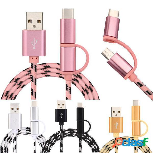 Bakeey 3A 2 in1 Micro Type-C Cable de datos de tejido Nylon