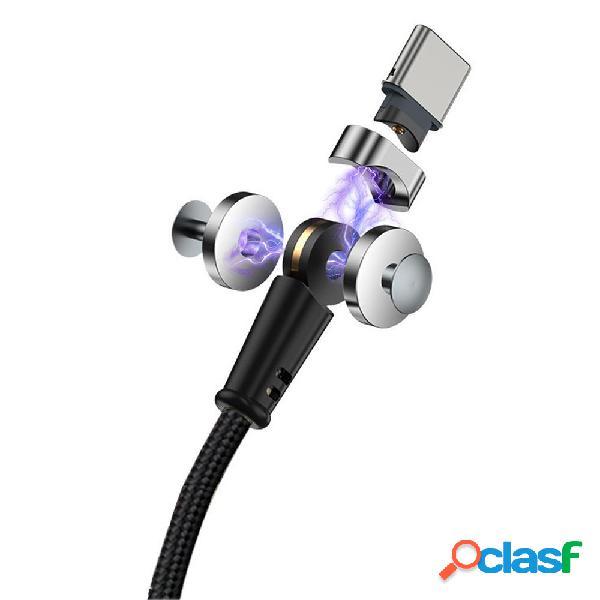 Bakeey 3A Type C Micro USB luz LED Rotación de 180 ° Cable