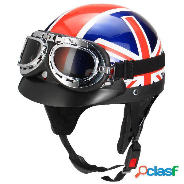 Bandera retro del Reino Unido Moto Casco de medio rostro