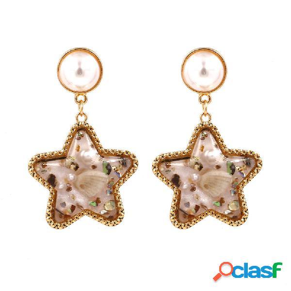 Bohemio Shell Star Pendiente gota Rhinestone perla