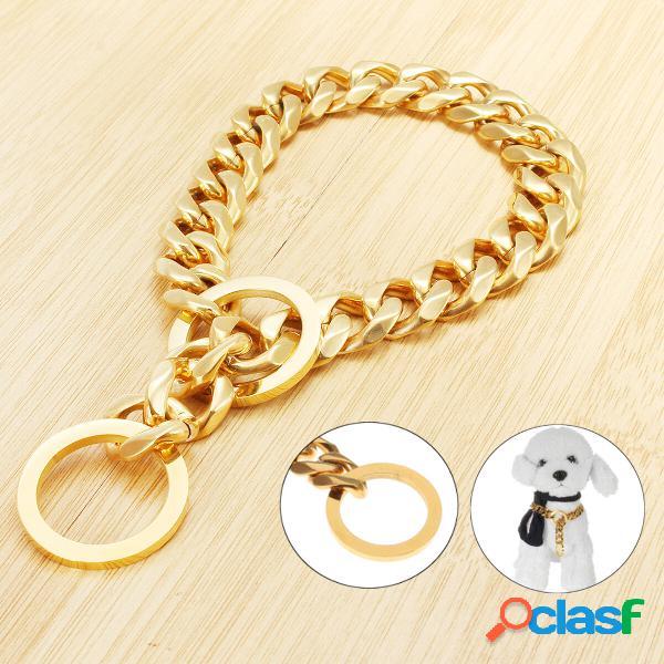 Cadena de oro de acero inoxidable de 17 mm Perro Collar