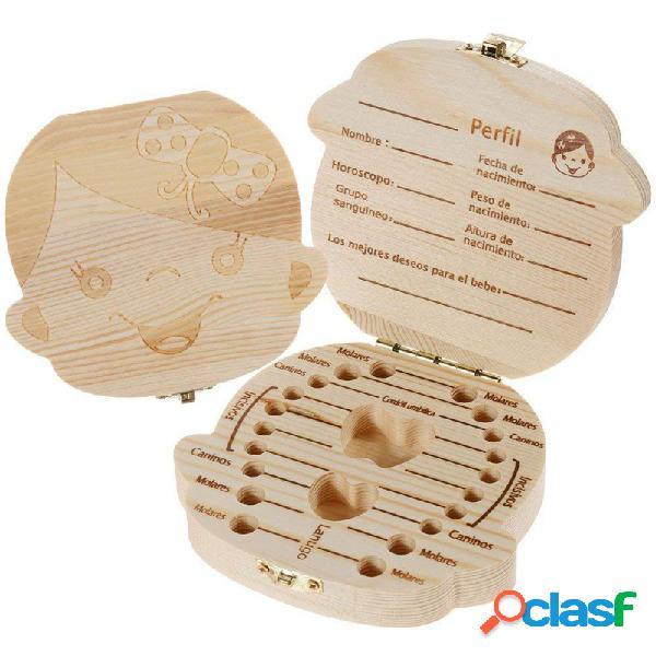 Caja de madera para dientes de leche niña