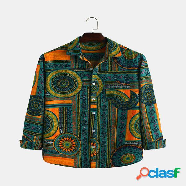 Camisas casuales de manga larga con estampado geométrico de