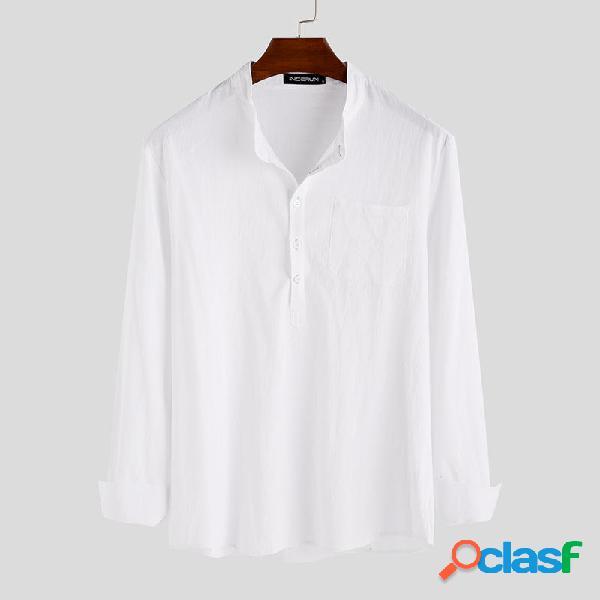 Camisas casuales de manga larga de color sólido de moda