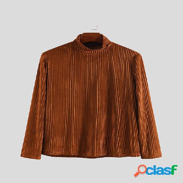 Camisas casuales de manga larga de cuello alto de color