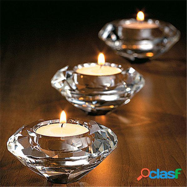 Candeleros de cristal de candelabro de vidrio Stand Té