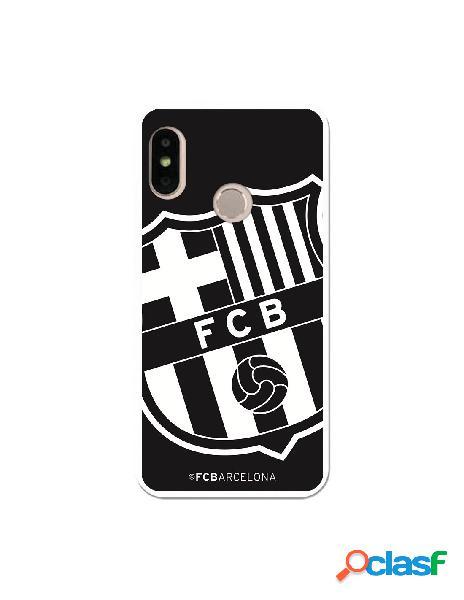 Carcasa Oficial Escudo Grande FC Barcelona Negro para Xiaomi