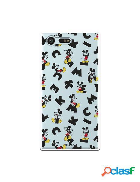 Carcasa Oficial Mickey Letras Clear para Sony Xperia X