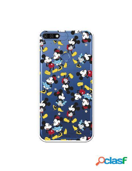 Carcasa Oficial Mickey y Minnie Patrón Clear para Huawei