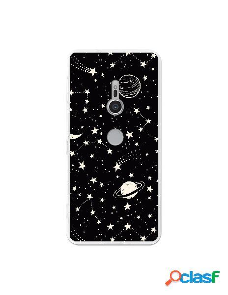 Carcasa Planetas fondo negro para Sony Xperia XZ2