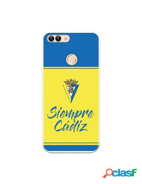Carcasa para Huawei P Smart Cádiz CF Fondo Azul y Amarillo