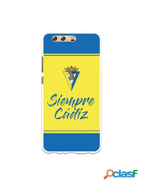 Carcasa para Huawei P10 Plus Cádiz CF Fondo Azul y Amarillo