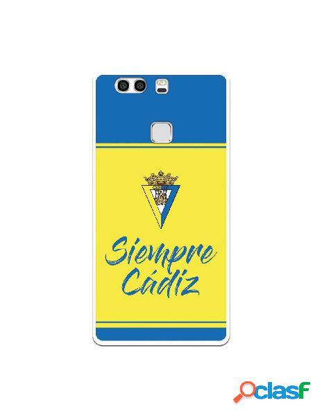 Carcasa para Huawei P9 Plus Cádiz CF Fondo Azul y Amarillo