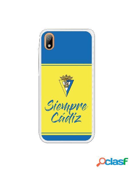 Carcasa para Huawei Y5 2019 Cádiz CF Fondo Azul y Amarillo