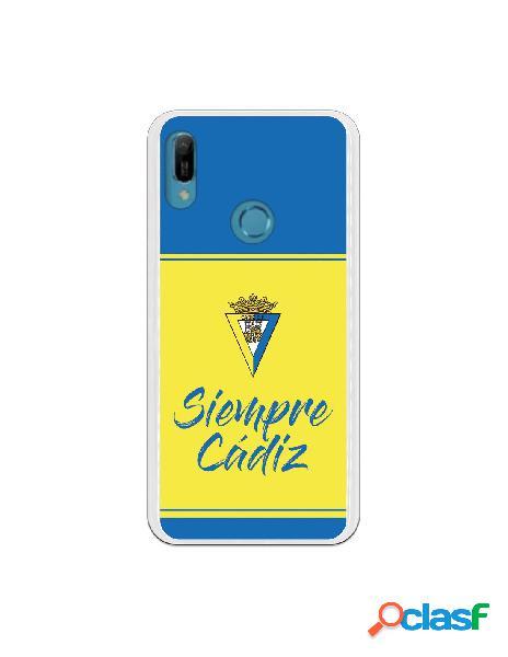 Carcasa para Huawei Y6 2019 Cádiz CF Fondo Azul y Amarillo