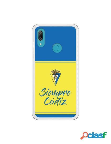Carcasa para Huawei Y7 2019 Cádiz CF Fondo Azul y Amarillo