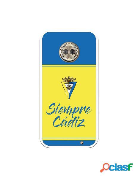 Carcasa para Motorola Moto G6 Plus Cádiz CF Fondo Azul y