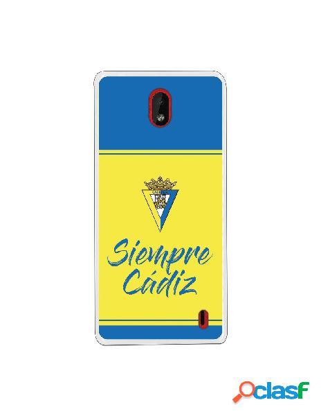 Carcasa para Nokia 1 Plus Cádiz CF Fondo Azul y Amarillo -