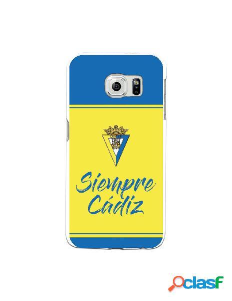 Carcasa para Samsung Galaxy S6 Edge Cádiz CF Fondo Azul y