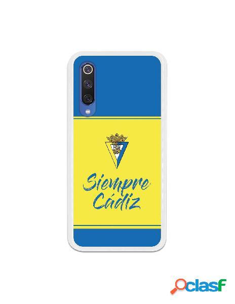 Carcasa para Xiaomi Mi 9 SE Cádiz CF Fondo Azul y Amarillo