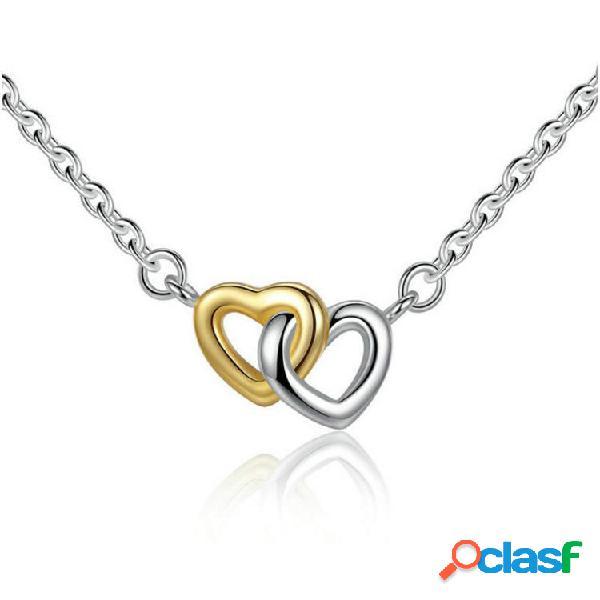 Classic Corazón Colgante Collar de oro de plata Corazón a