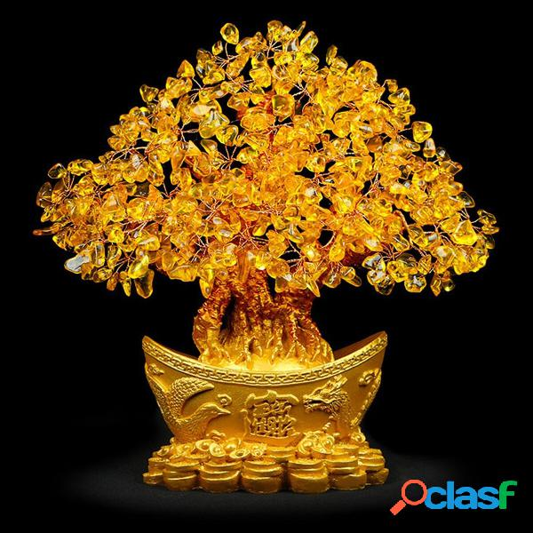 Cristales de Feng Shui amarillo Piedras de gema Árbol de la