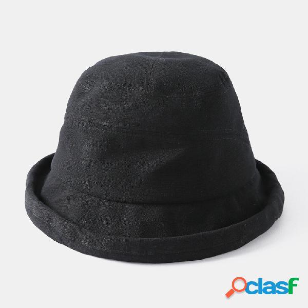 Cubo de mujer Sombrero Color sólido Ala corta Sombrero