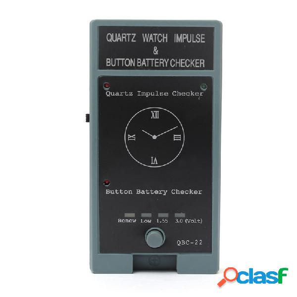 Cymii reloj de cuarzo impulso y botón Batería Checker