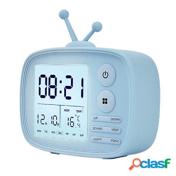 DC 5V Alarma digital Reloj Temperatura Pantalla Contraluz de