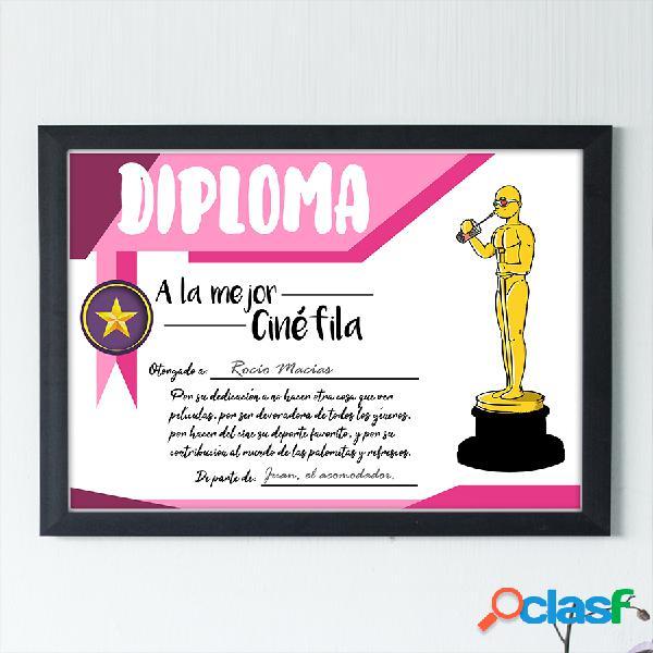 """Diploma personalizado """"A la mejor Cinéfila"""""""