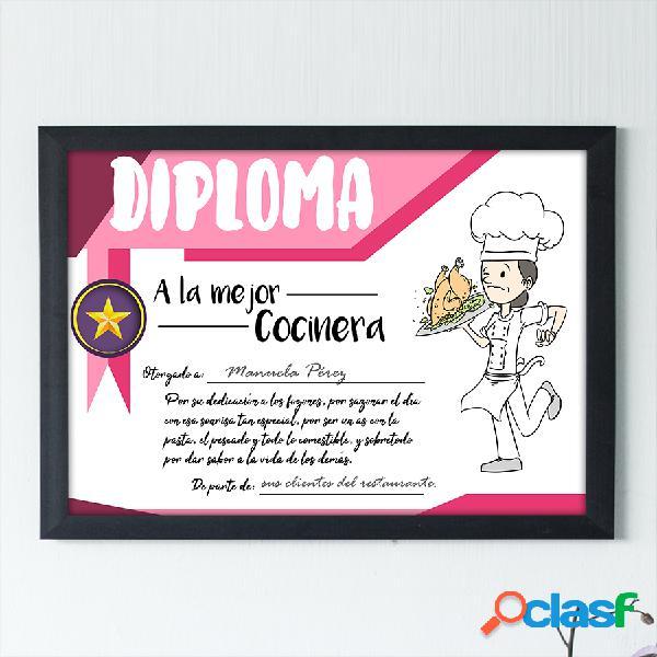 """Diploma personalizado """"A la mejor Cocinera"""""""