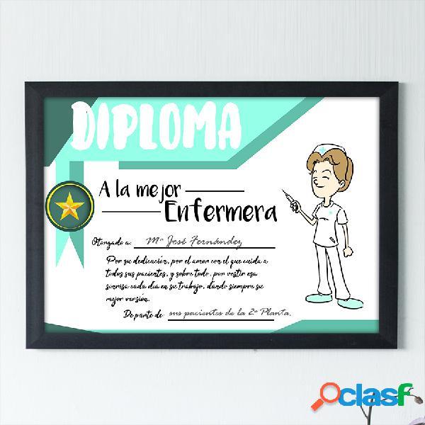 """Diploma personalizado """"A la mejor Enfermera"""""""