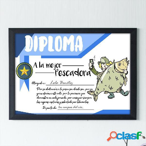 """Diploma personalizado """"A la mejor Pescadora"""""""