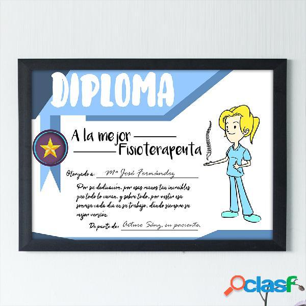 """Diploma personalizado """"A la mejor fisioterapeuta"""""""