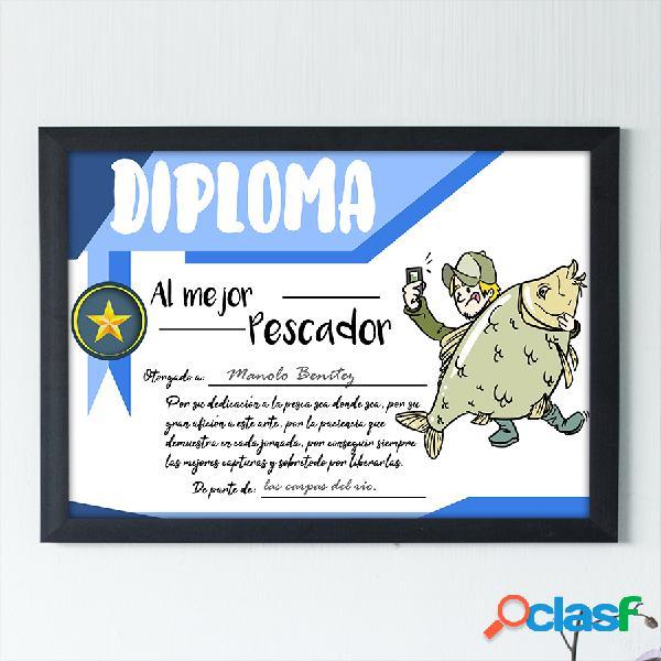 """Diploma personalizado """"Al mejor Pescador"""""""